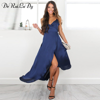 DeRuiLaDy 2018 Summer Sexy Women Dresses Female V Neck Strap Maxi Dress Womens Casual Beach Party