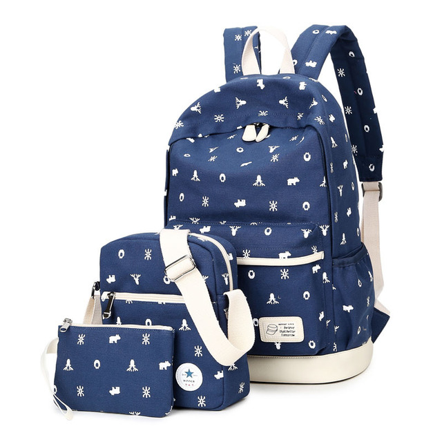 36481a25ac19 Women Animal Printed Canvas Backpack Japan and Korea Style School Students  Bookbag Girls Fresh Travel Backpack