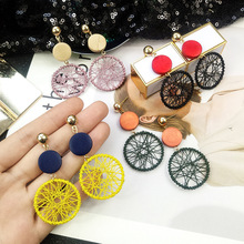 2019 exaggerated big circle earrings female temperament personality wild drop long sexy dangle