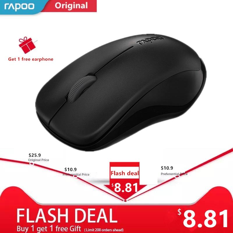 Original Rapoo Silenciosa Mouse Óptico Sem Fio Botão de Mudo Clique Mini Computador Silencioso Jogo Mice 1000 dpi para PC Portátil Macbook