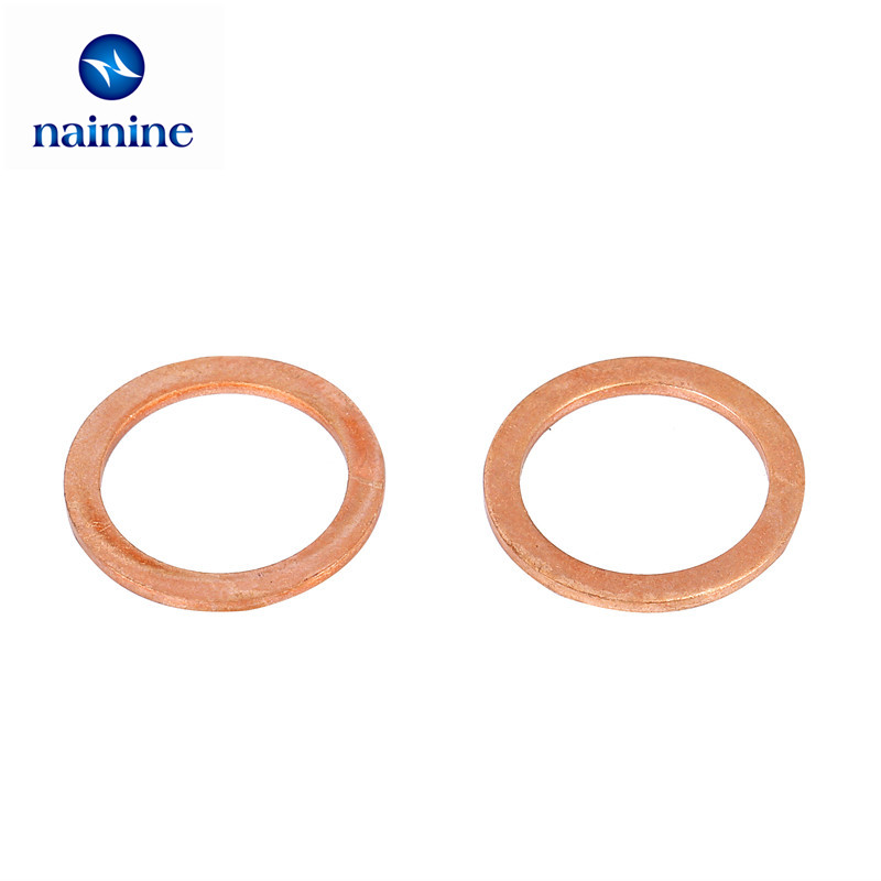 20/50Pcs DIN7603 M5 M6 M8 M10 M12 M14 T3 Sealing Copper Washer For Boat Crush Washer Flat Seal Ring Fitting HW151 image