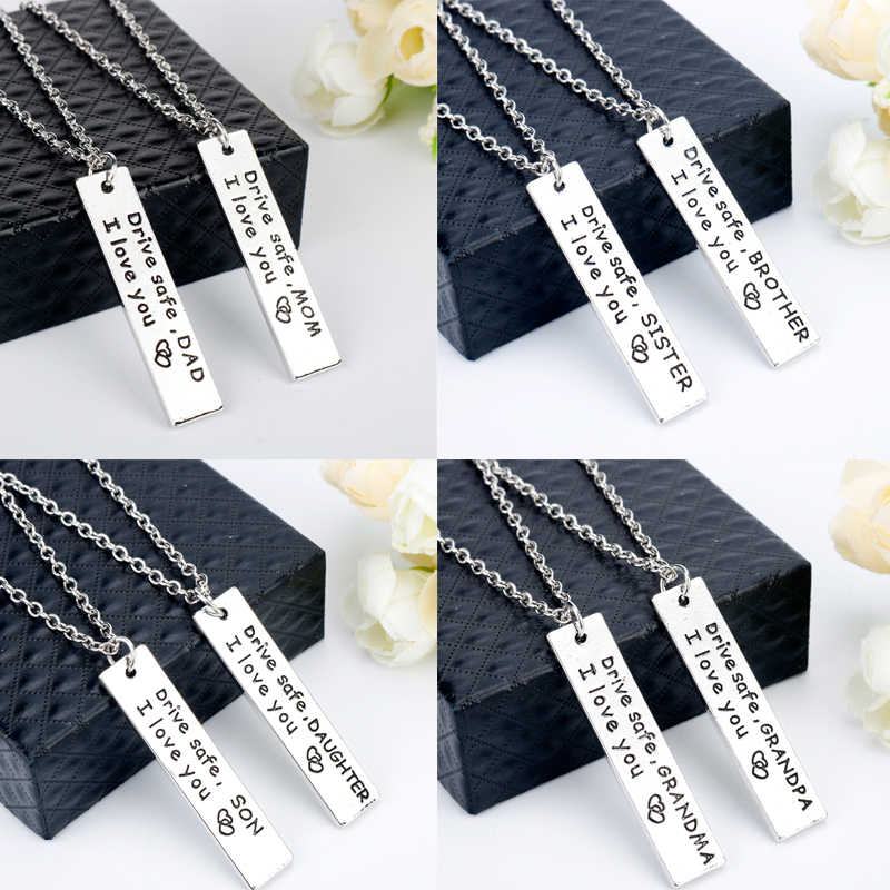 Detail Feedback Questions About MQCHUN Jewelry Drive Safe Necklace Birthday Gift To Grandpa Grandma Dad Mom Brother Sister Tag Pendant Christmas