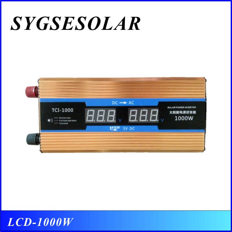 1000w LCD inverter 12 220 1000w 50Hz power inverter modified sine wave with USB for phone TV computer image
