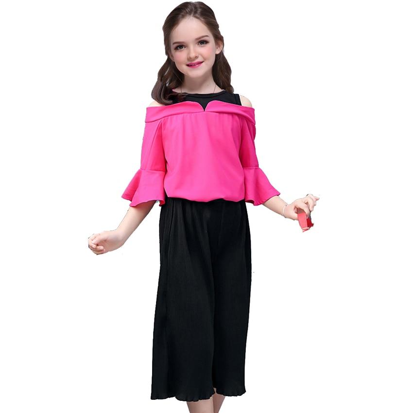 Комплекты для девочек одежда для малышей модные весенне-летние кэшен Костюмы Детская верхняя одежда Твердые Топы + свободные штаны 2 шт. ...