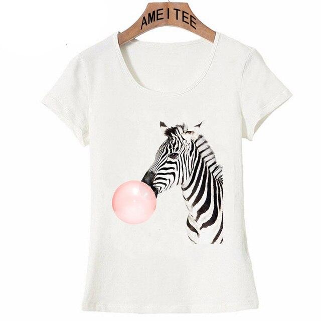 ba50775d Zebra Pink Bubble gum Art Print T-shirt Fashion Women T-Shirt Cute Zebra  Design Casual Tops Summer Tee Woman T-Shirt