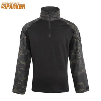 EXCELLENT ELITE SPANKER męskie wojskowe koszulki z długim rękawem kamuflaż marki Army Combat Tactical z długim rękawem polowanie koszulka męska tanie i dobre opinie SP1012 Pasuje prawda na wymiar weź swój normalny rozmiar Cotton Polyester Tees O-sleeve Full Turn-down Collar Camo MCB MCP
