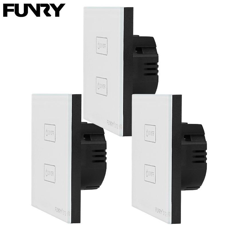 3 pcs EU standard ST2 2 Gang 1 Way Touch Switch Light Control Sensor Switch 170-240V Tempered Glass Luxury Wall Switch Panel smart home eu touch switch wireless remote control wall touch switch 3 gang 1 way white crystal glass panel waterproof power