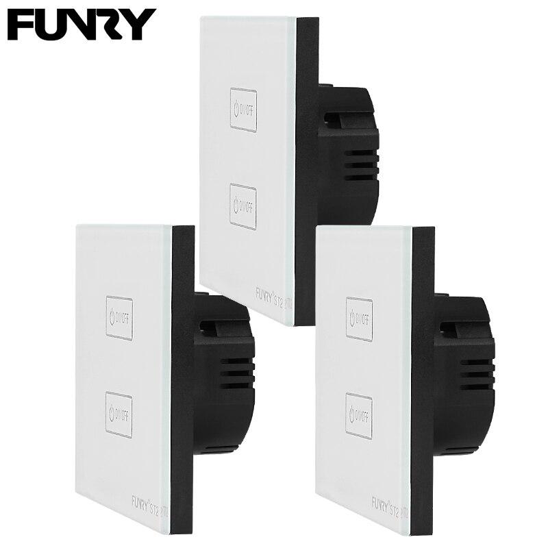 3 Pcs Eu Standard St2 2 Gang 1 Way Touch Switch Light