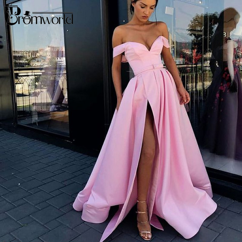 Red Prom Dresses 2019 Off the Shoulder High Slit Long Prom Gown with Pockets vestidos de