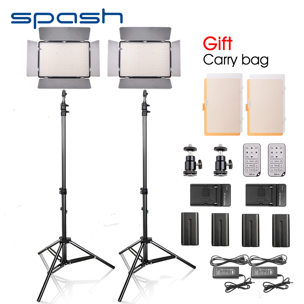 spash TL-600S 2pcs LED Video Light Studio Photo Photography Lighting Lamp with Tripod 3200K-5500K Remote Control NP-F550 Battery nanguang cn r640 cn r640 photography video studio 640 led continuous ring light 5600k day lighting led video light with tripod