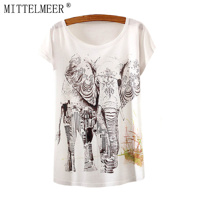29827d04 2017 Brand New Polyester T-Shirt Women Short Sleeve t-shirts o-neck Causal  loose Elephant t shirt Summer top for women