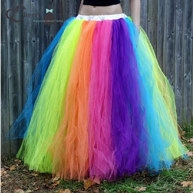 Adult Rainbow Tutu Skirt In Floor Women Tulle Long Halloween Christmas Party Celebrate Maxi Skirts