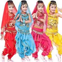 4 шт.(топ+ Брюки для девочек+ пояс+ ручная цепная) дети живота Танцы костюмы дети Костюмы для танца живота платье Обувь для девочек Костюмы для бальных танцев производительность Танцы одежда