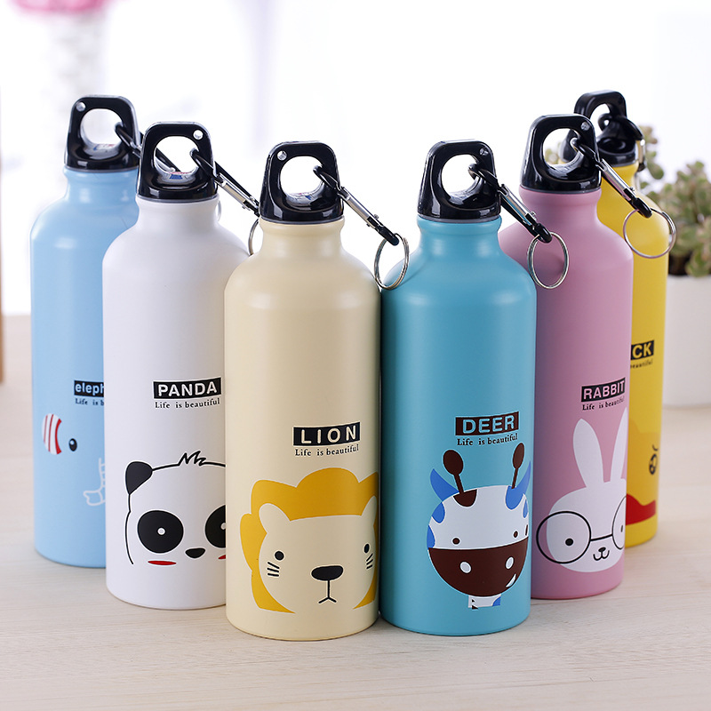 VILEAD 500ML Cute Animal Korean Aluminum Sports Water Bottle Portable Outdoor Camping Tour Kettle with Buckle Gift for Children