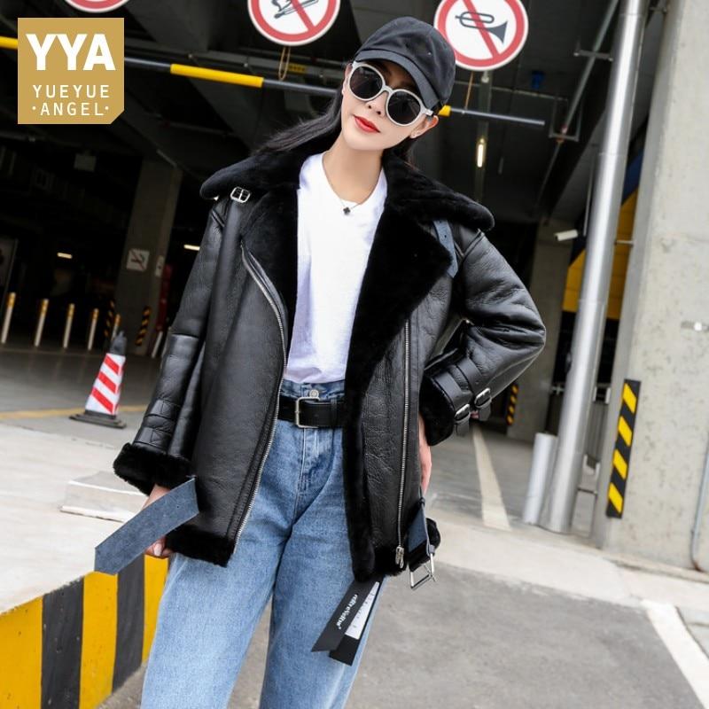 Winter Women Luxury Real Fur Jacket Warm Wool Lining Shearling Coat Genuine Leather Design Boyfriend Motor Biker Female Overcoat