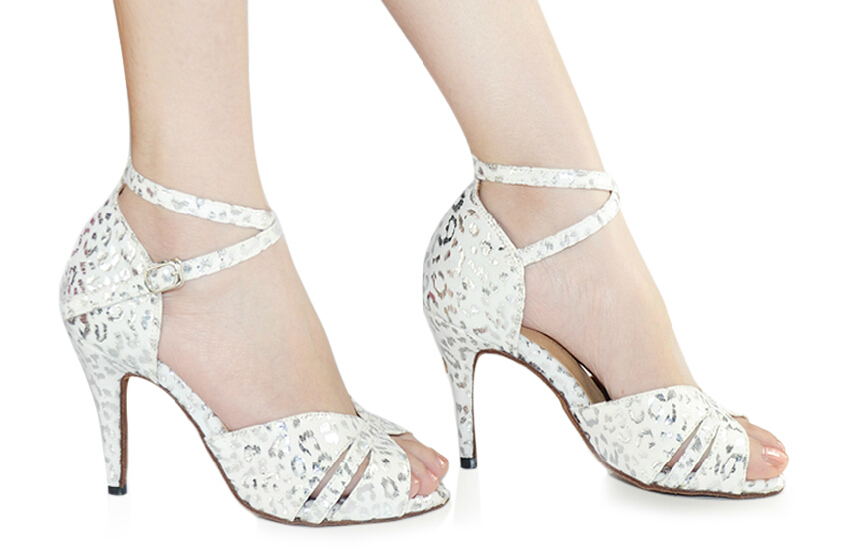 New Women White Leopard Print Latin Ballroom salsa bachata dance shoes All Size