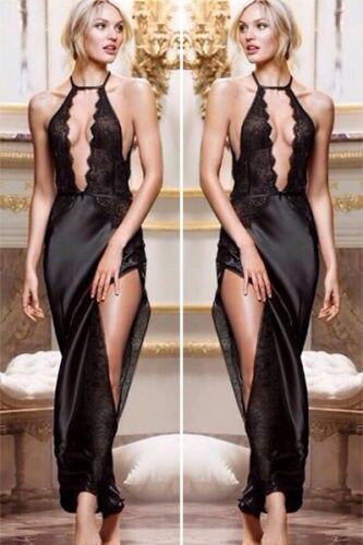New 2015 font b Womens b font Long Lace Sexy Lady Hot Robe Sleepwear Nightwear font