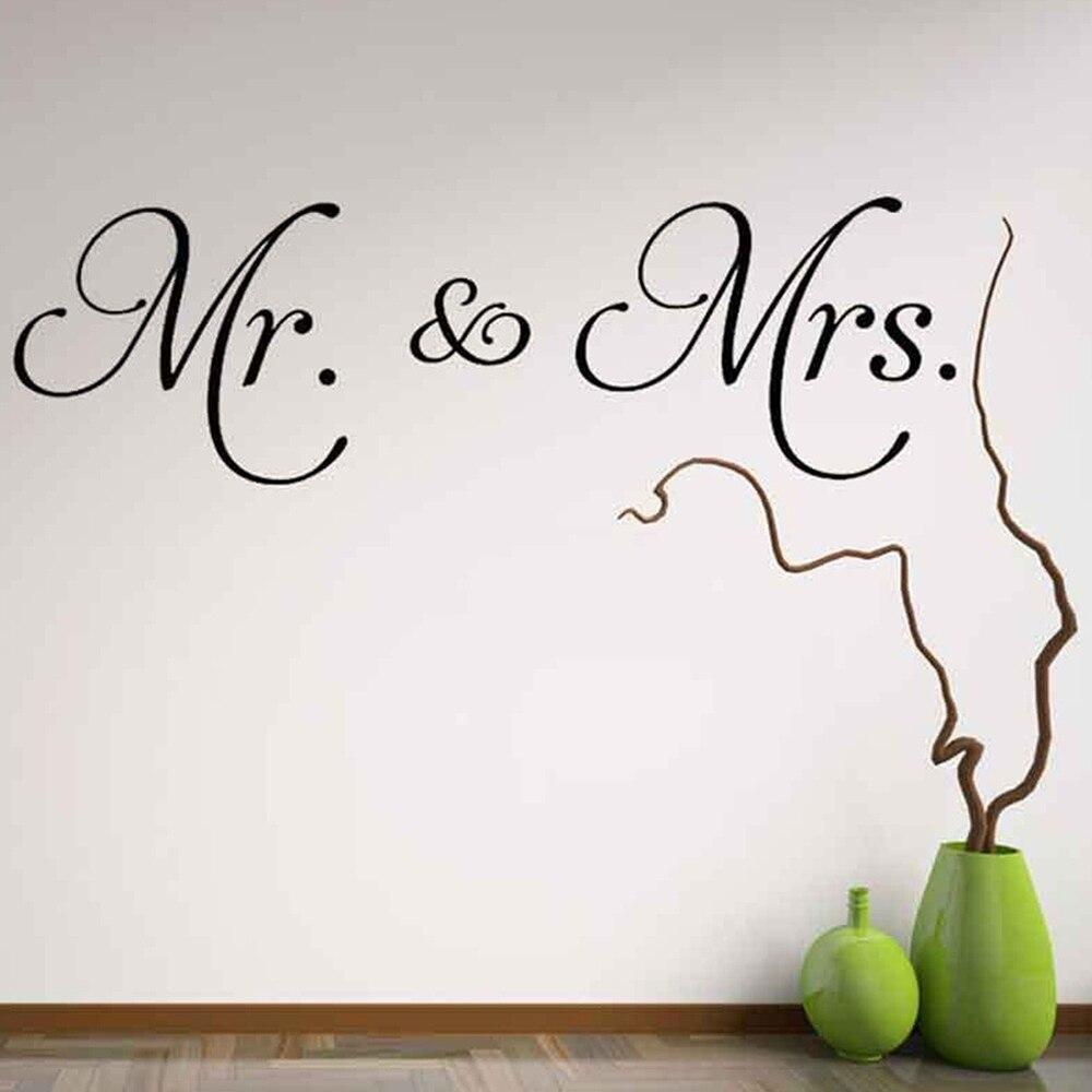 El Sr. la Sra Amor Matrimonio Par Dormitorio Funny calcomanías de pared Calcomanías De Vinilo De Interior