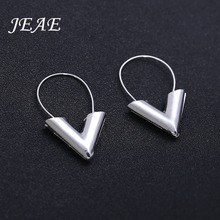 JEAE Trendy Vintage Big V Shape Drop Earrings For Women Gold Silver Classic Charm Geometric alloy Dangle Earrings Ladies Jewelry