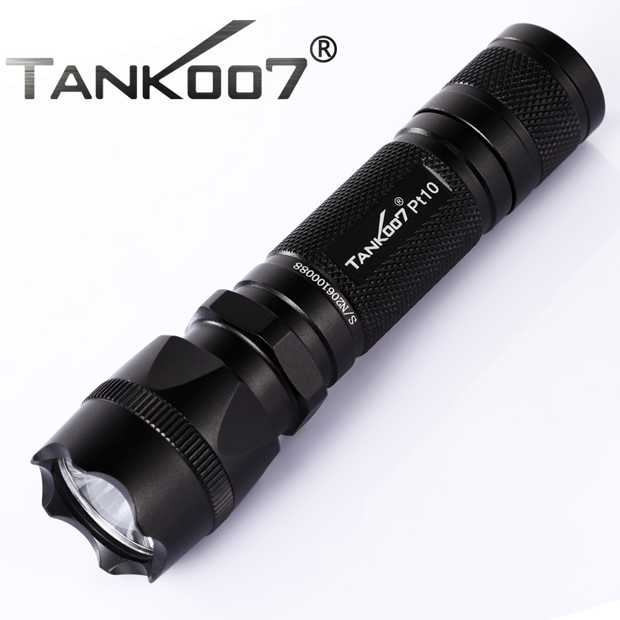 TANK007 PT10 Cree XM L T6 500 lumen 5 modes LED Flashlight Tactical Flashlight 1*18650 Battery