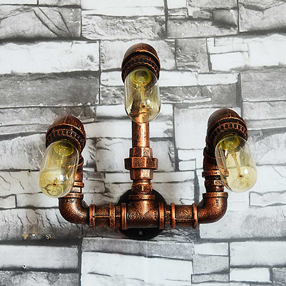 3 Heads Nordic Loft Style Industrial Water Pipe Wall Lamp Vintage ...