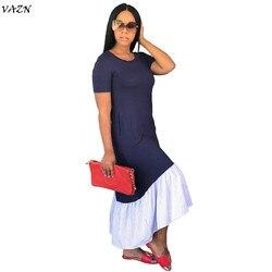 VAZN 2018 New Arrive Famous Brand Women Casual Dress Solid  O-Neck Short Sleeve Loose Maxi Dress Vestido SMR8872 1
