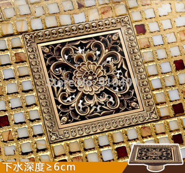 ФОТО Hot Sale Wholesale And Retail Promotion Antique Brass Square 12cm Bathroom Shower Drain Washer Grate Waste Floor Drain