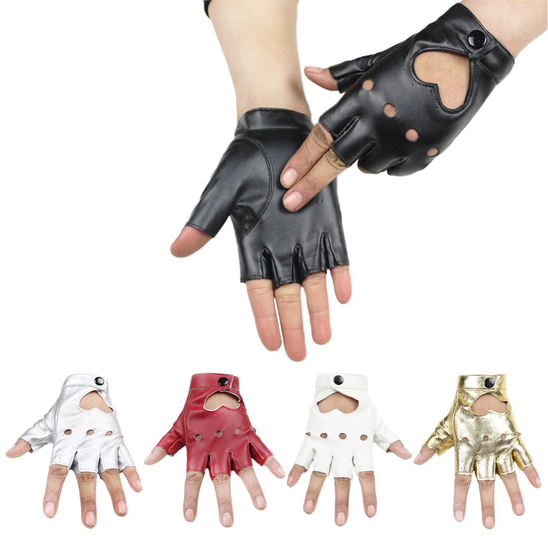 Fashion Women's Leather Gloves Fingerless Star Hollow Gloves Party Show Breathable Half Finger Mittens For Women