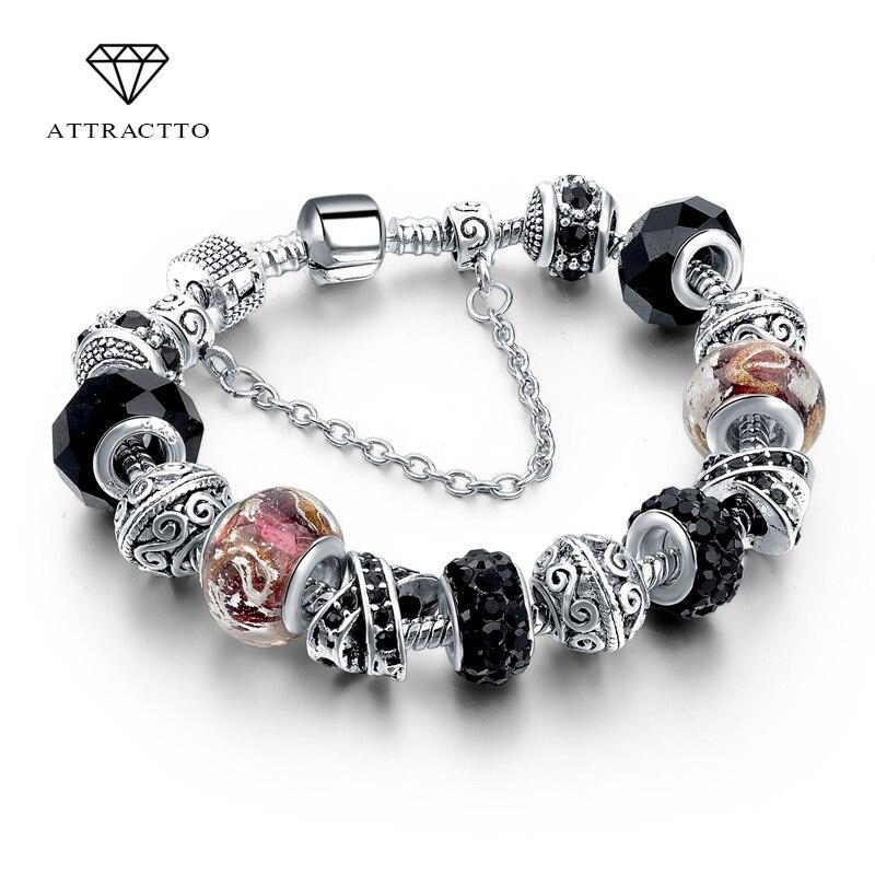 ATTRACTTO Black Promotion Heart Charm Bracelets For Women Crystal Bead Bracelet Jewelry Female Pulseras Mujer Bracelet SBR160014
