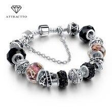 Женский браслет с подвеской в виде сердца attrattto черный бусинами