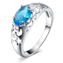 sea-blue zircon stars moon cute Silver plated Ring Fashion Jewerly Ring Women&Men , /OFPZGYNJ UPTCHAGR