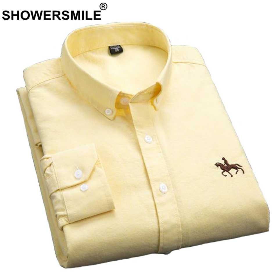 SHOWERSMILE Shirt Men Yellow Pure Cotton Casual Slim Fit Shirt Male Embroidery Long Sleeve Shirt Autumn Big Size Mens Clothes