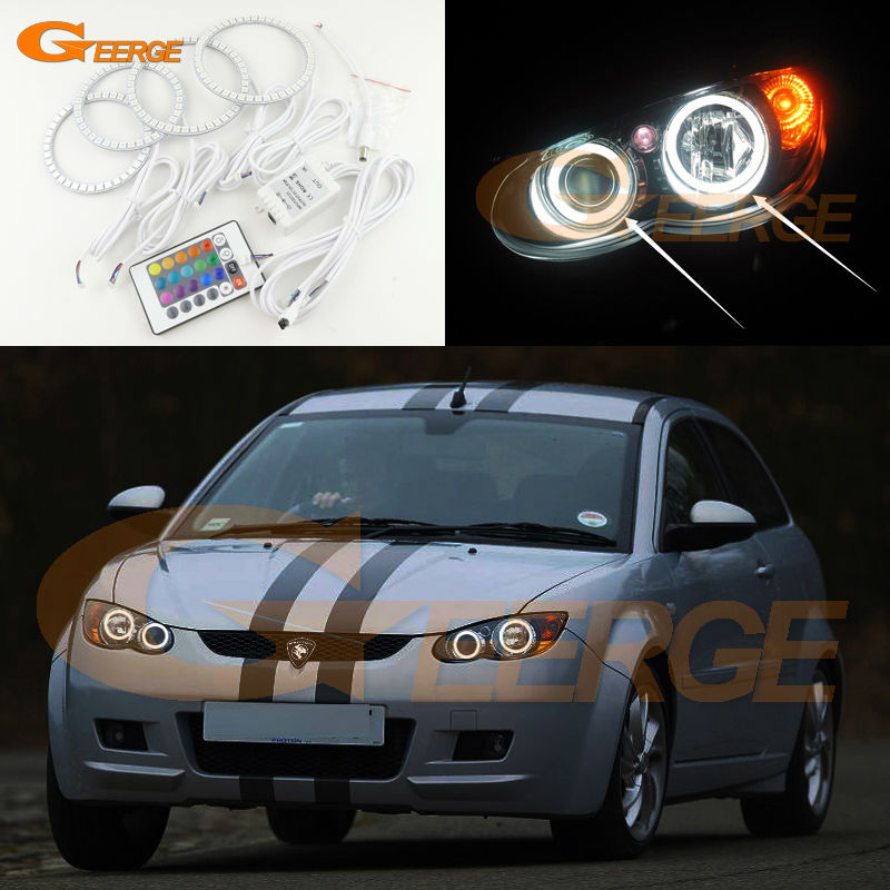 For Proton Satria Neo 2006-2013 Excellent Angel Eyes Multi-Color Ultra bright RGB LED Angel Eyes kit Halo Rings super bright led angel eyes for bmw x5 2000 to 2006 color shift headlight halo angel demon eyes rings kit