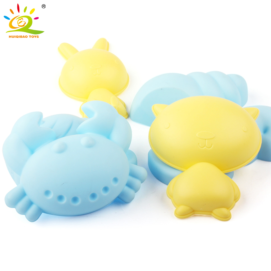 New Summer Childrens Soft Rubber Beach Toys Dredging Play Set DIY Castle And Animal Combination Baby Play Beach Toys For Kids