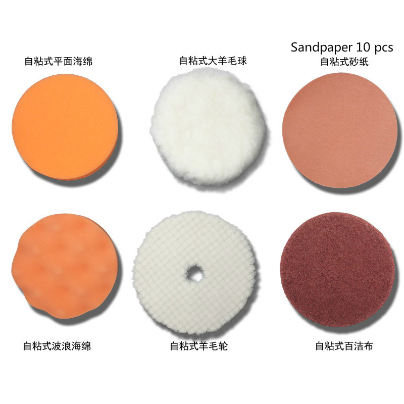 Automotive beauty polishing waxing cleaning self-adhesive wool wheel 100mm sponge wheel polishing sandpaper 15 pcs perset 1pc white or green polishing paste wax polishing compounds for high lustre finishing on steels hard metals durale quality