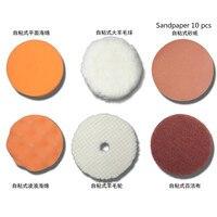 Automotive beauty polishing waxing cleaning self adhesive wool wheel 100mm sponge wheel polishing sandpaper 15 pcs perset