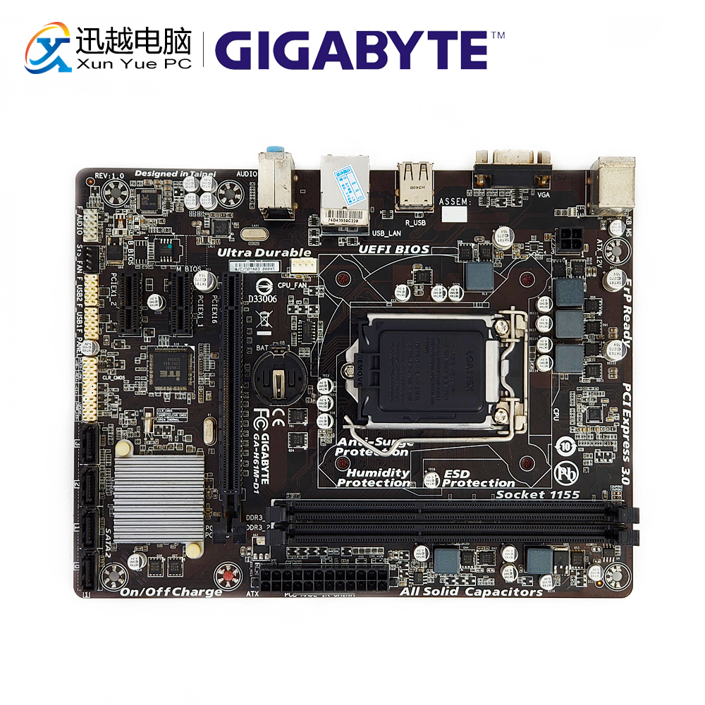 все цены на Gigabyte GA-H61M-D1 Desktop Motherboard H61M-D1 H61 LGA 1155 i3 i5 i7 DDR3 16G SATA2 USB2.0 VGA Micro-ATX