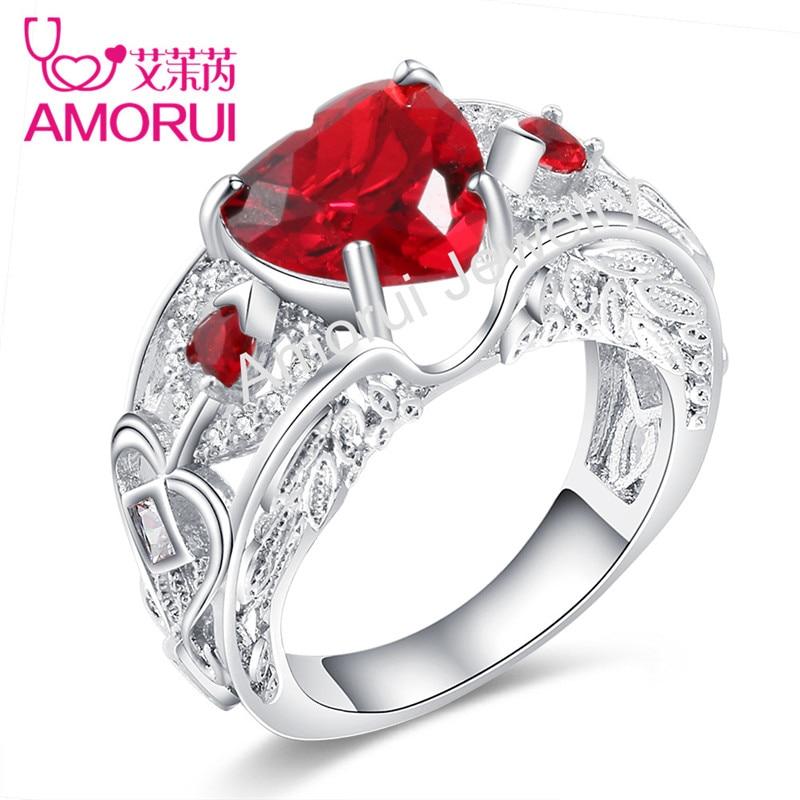 AMORUI 24 Farben Schwarz Gold/Silber Engelsflügel AAA Zirkonia Liebe Herz Hochzeit Schmuck Ringe für Frauen Birthstone Ring Geschenk