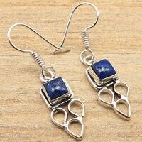 Fancy LAPIS LAZULI Earrings Silver Plated ONLINE SHOPPING Jewelry