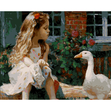 Frameless Girl and  White Duck Picture Painting By Numbers DIY Oil On Canvas Home Decoration For Living Room 40*50cm