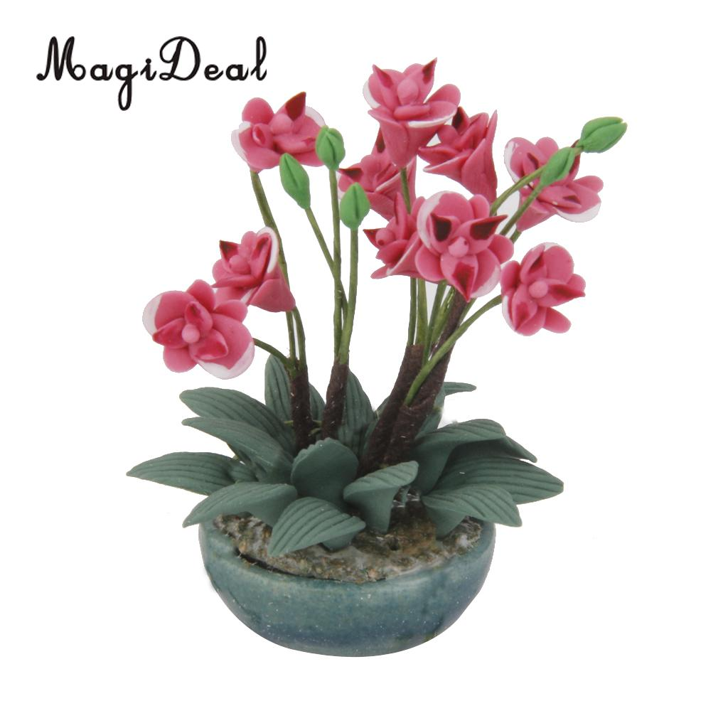 Violet Rhynchostylis Orchid Clay Flower Ceramic Pot Dollhouse Miniature Handmade