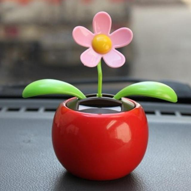 d746164c8898b Plastic Crafts Home Car Flowerpot Solar Power Flip Flap Flower Plant Swing  Auto Dance Toy Car Styling Decoration Ornaments 1pcs