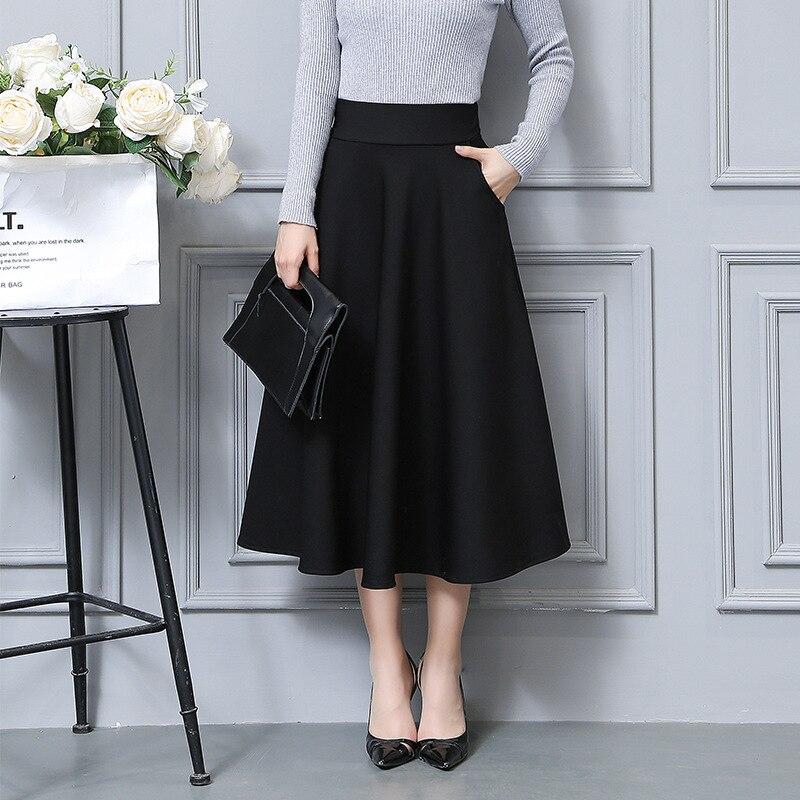 7ca4aaa2b Faldas Mujer nueva primavera y otoño versión coreana del bolsillo sobre la  rodilla Falda larga ...