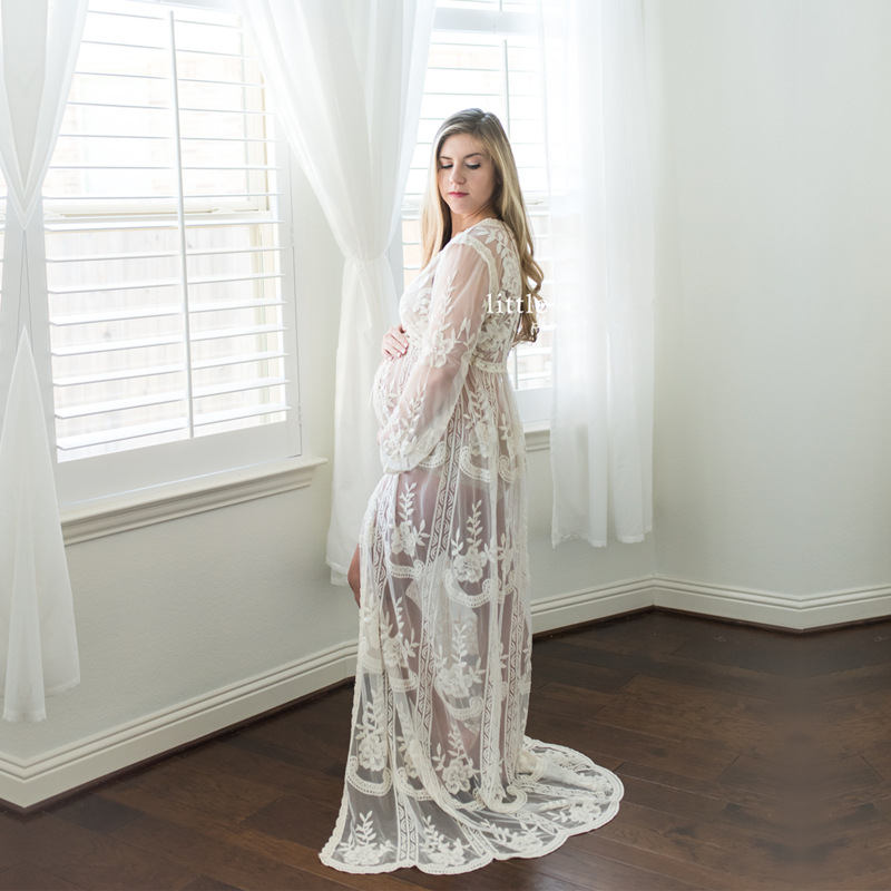 Long Sleeve Maternity Dresses For Photo Shoot Sexy Lace Maxi Gown Maternity Photography Prop Women Clothes 2019 Pregnancy Dress photo shoot