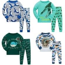 Купить с кэшбэком 3-8 Year Children Pajamas Sets Shark Baby Boys Sleepwear nightdress Blue Boy pijama loungewear T-Shirt Trouser PJS Cotton