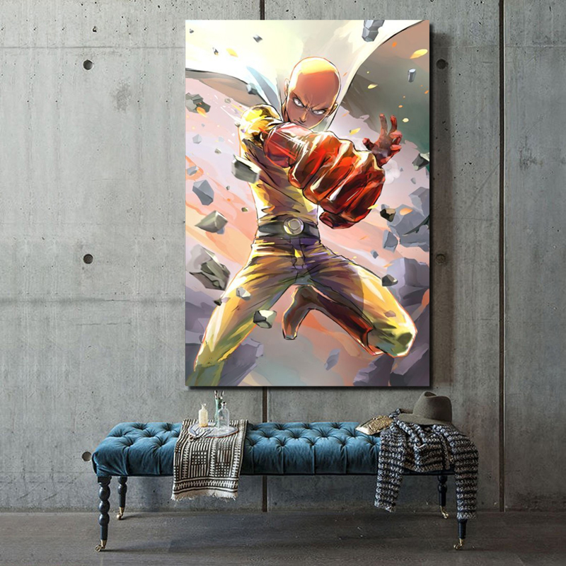 Japanese Anime Cool One Punch Man Canvas Painting Print Living Room Home Decoration Modern Wall Art Oil Painting Posters Picture in Painting Calligraphy from Home Garden