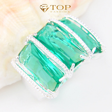 Top Jewelry Charm 3X green crystal rings good and cheap trendy jewelry for women Wedding Rings Party Rings R0149