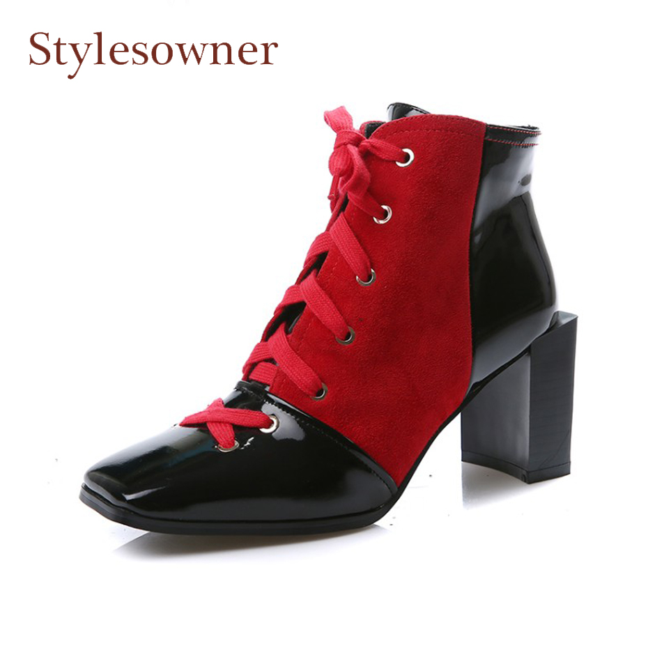 Stylesowner Winter Autumn Square Toe Lace Up Women Ankle Boots Genuine Leather Red Mixed Black High Heel Martin Boots Mujer 2017 fashion new red horsehair women ankle boots square high heel short booties autumn zip up martin botines mujer women pumps