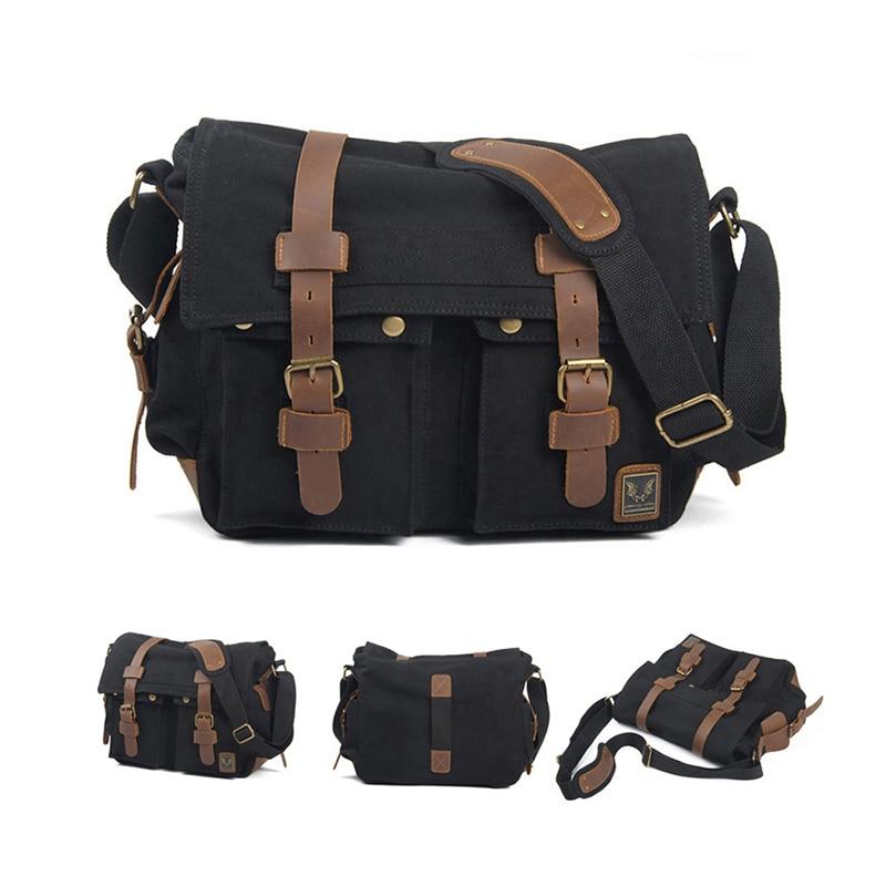 ETOPLINK Canvas Vintage DSLR SLR Camera Shoulder Bag Men s Vintage Canvas Leather Military Messenger Bag