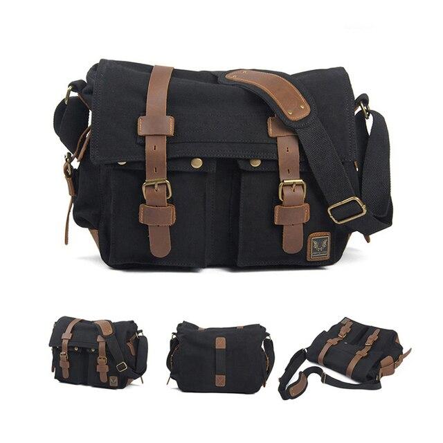 6cd56625818f9 ETOPLINK płótnie rocznika DSLR lustrzanka torba na ramię męska w stylu  Vintage płótnie Leather wojskowa torba
